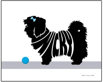 Personalized Lhasa Apso Silhouette Print, Dog Name Art, Unique Dog Memorial Gift