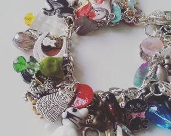 I LOVE CATS, Loaded, cat charm bracelet, cat bracelet, ceramic, glass, cat charms bracelet, boho, cat lady,  by Newellsjewels on etsy