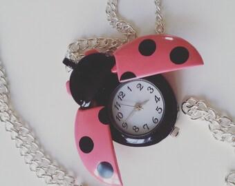 Strawberry pink, Black dots, Silver, Ladybird, ladybug, polka dot, pocket watch, necklace, pendant, by NewellsJewels on etsy