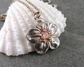 Fine silver flower pendant, handmade eco friendly silver flower necklace with peach cubic zirconium-OOAK