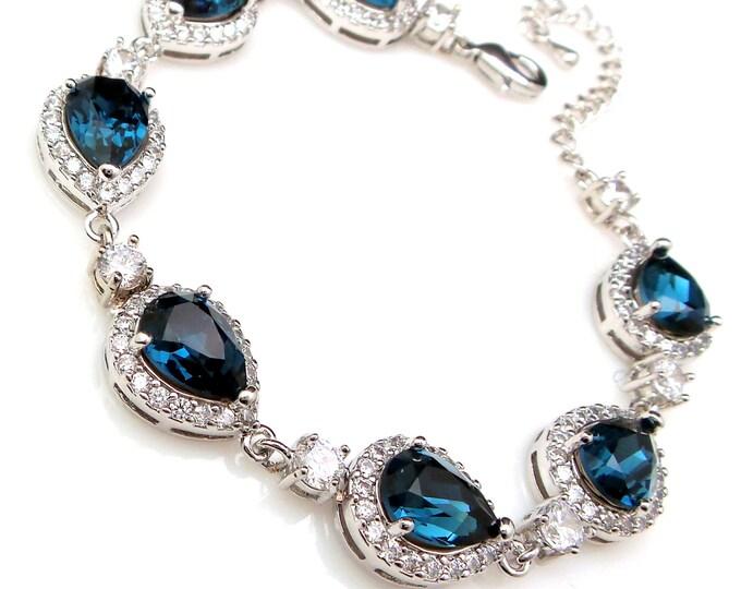 bridesmaid jewelry bracelet bridal wedding christmas party gift swarovski rhinestone teardrop pear montana navy blue cubic zirconia bracelet