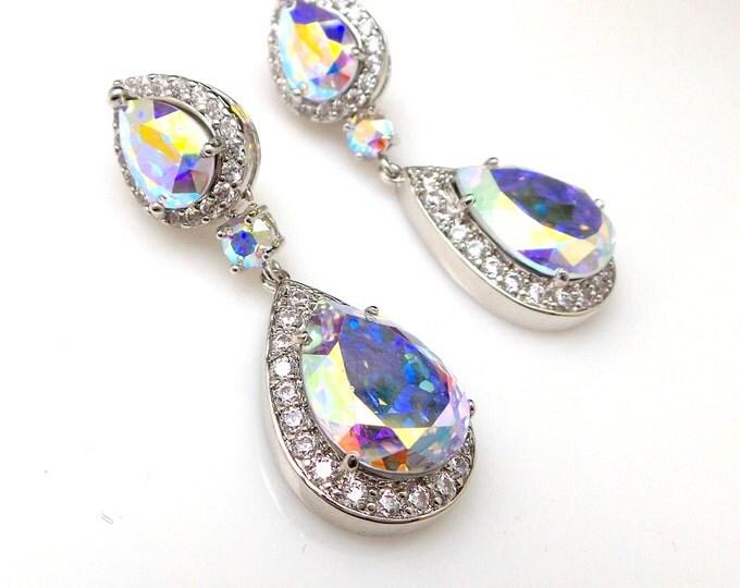 wedding jewelry bridal earrings bridesmaid gift prom party pageant teardrop AAA cubic zirconia swarovski ab irredecent crystal teardrop post