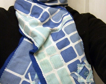 Upcycled fabric scarf with button details