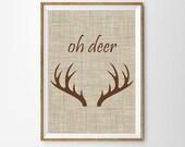 Oh Deer Print , Instant Download Reindeer Antler Wall art , Printable Tribal Print , Boho Poster ,