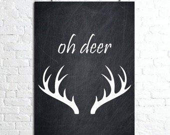 Oh Deer Print , Oh Deer Print,  Oh Deer Wall Art, Large Wall Art, Oversized Art, Oh Deer Art Print, Wall Art, Trending Items, Trending Now