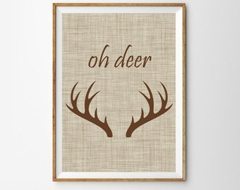 Oh Deer Print  Reindeer Antler Wall art, Tribal, Large Wall Art, Oversized Art Work, Trending Items, Trending Now, Rustic Art, Tribal Poster