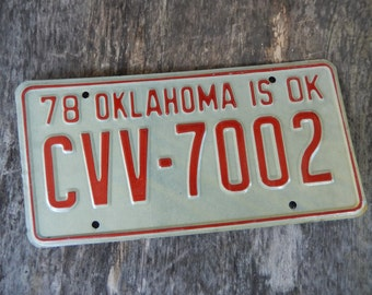 License Plate Oklahoma Vintage 1978 Red and White Rustic Garage, Industrial, Man Cave, Pub, Bar Decor, Barn, Wall Hanging, Home Decor