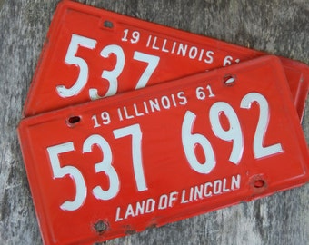 Vintage License Plates Illinois 1961 Pair Red Rustic Garage, Industrial, Man Cave, Pub, Bar Decor, Wall Hanging, Home Decor AMarigoldLife