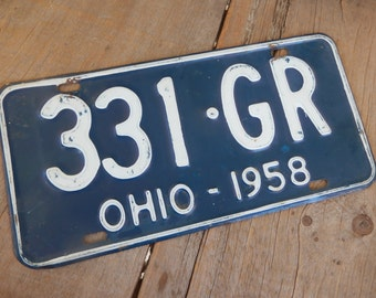 License Plate Ohio Vintage 1958 Blue and White Rustic Garage, Industrial, Man Cave, Pub, Bar Decor, Barn, Wall Hanging, Home Decor