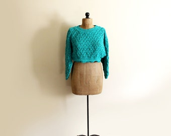 vintage sweater crop top 1980s clothing cropped emerald green pointelle oversized size large l