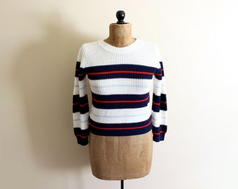 vintage sweater striped nautical 80s navy blue red white retro 1980s womens clothing size s m small medium