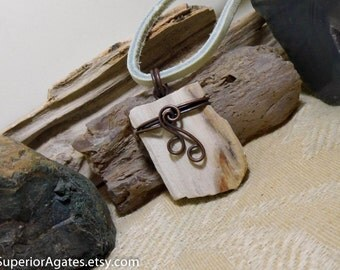 Petrified Wood Antique Copper Stone Leather Necklace  005