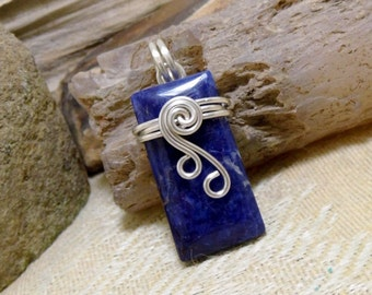 Blue Gem Sodalite Wire Wrapped Stone Silver Pendant