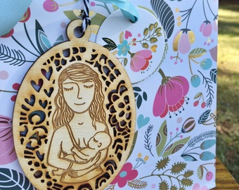Breastfeeding Ornament - Christmas Ornament -  Babywearing Wooden Ornaments - Breastfeeding - Long Wavy Hair