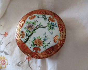 Daher vintage round Asian decorative TIN- Made in ENGLAND, cloisonne
