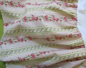 vintage queen BED SKIRT - pink, green, striped, cotton, floral, romantic