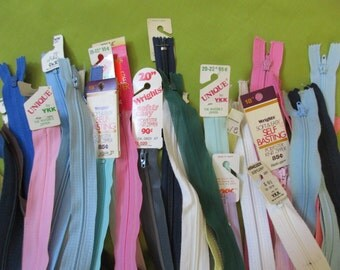 38 vintage nylon zippers-  cotton, new, unused, long