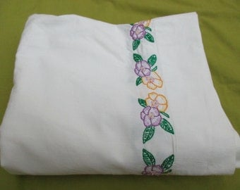 vintage white cotton FLAT SHEET with hand embroidered trim - OOAK, pansies, yellow, purple