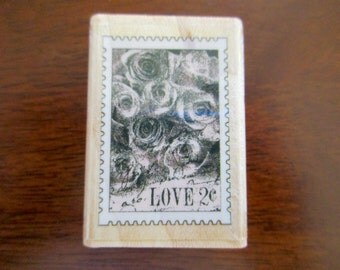 rubber stamp mounted on wood - love postage stamp, roses, Inkadinkado