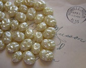 60 vintage plastic cabochons - oval cabs, creamy pearl color - 9mm x 12mm and 10mm x 15mm