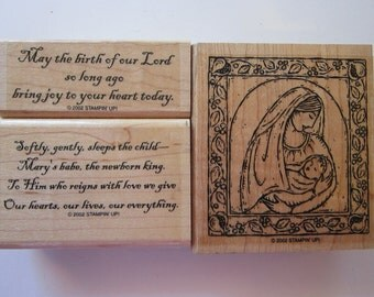 3 rubber stamps - Mother and Child - religious - Stampin Up 2002