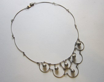 vintage TAXCO sterling silver necklace - festoon bib necklace with bead dangles - signed EAE - 925 Taxco silver