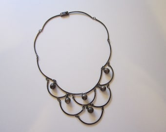 vintage TAXCO Ballesteros festoon bib sterling silver necklace with bead dangles - Los Ballesteros 42 hallmarks - Taxco silver necklace