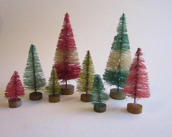 8 miniature bottle brush trees - PINK and AQUA - miniature sisal trees, putz village trees - vintage inspired bottlebrush trees