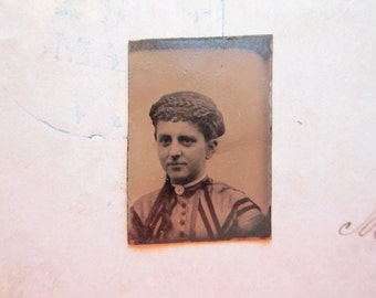antique miniature GEM tintype photo - woman, hat with braid trim, late 1800s - gte86