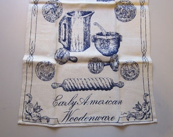 vintage linen dishtowel - Luther Travis EARLY AMERICAN WOODENWARE - vintage unused, original Hudson's Detroit label