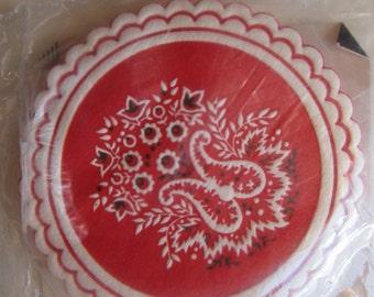 vintage paper coasters - RED BANDANA motif - set of 12