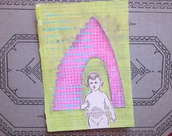 handmade mini collage - she had BUTTERFLIES in her stomach - 4.25 x 6 inches - paper, paint, salvaged book pages