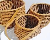 3 (Three) Vintage Nesting Baskets - Nesting Baskets, Baskets, Vintage Baskets, Storage, Storage Baskets, Handled Baskets, Woven Baskets
