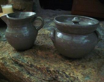 vintage Seagrove, NC pottery,  sugar & creamer