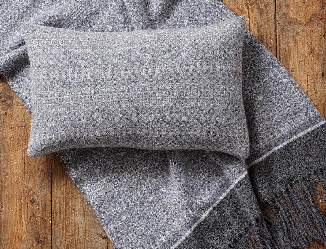Oblong Cushion Knitting Pattern : Rectangle cushion Knitted Fair Isle scatter cushion sofa
