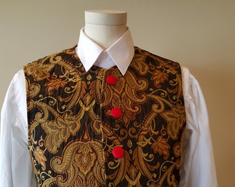 18th Century Vest, Brown Brocade w Black Lining - Medium