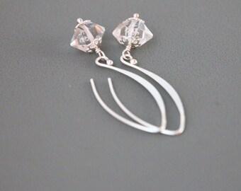 Herkimer Diamond Earrings, Herkimer Diamond Crystal Earrings, Herkimer Diamond Quartz Sterling Silver Earring, Herkimer Diamond, Raw Crystal