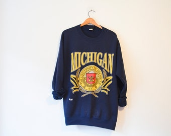 Vintage Blue University of Michigan Wolverines Sweatshirt