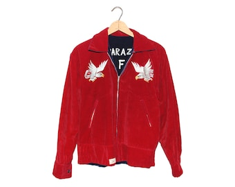 Vintage Japan Kisarazu Air Force Base 53 - 55 Red & Blue Velvet Bomber Jacket Made in Japan Oike Kiryu - Medium (os-jkt-6)