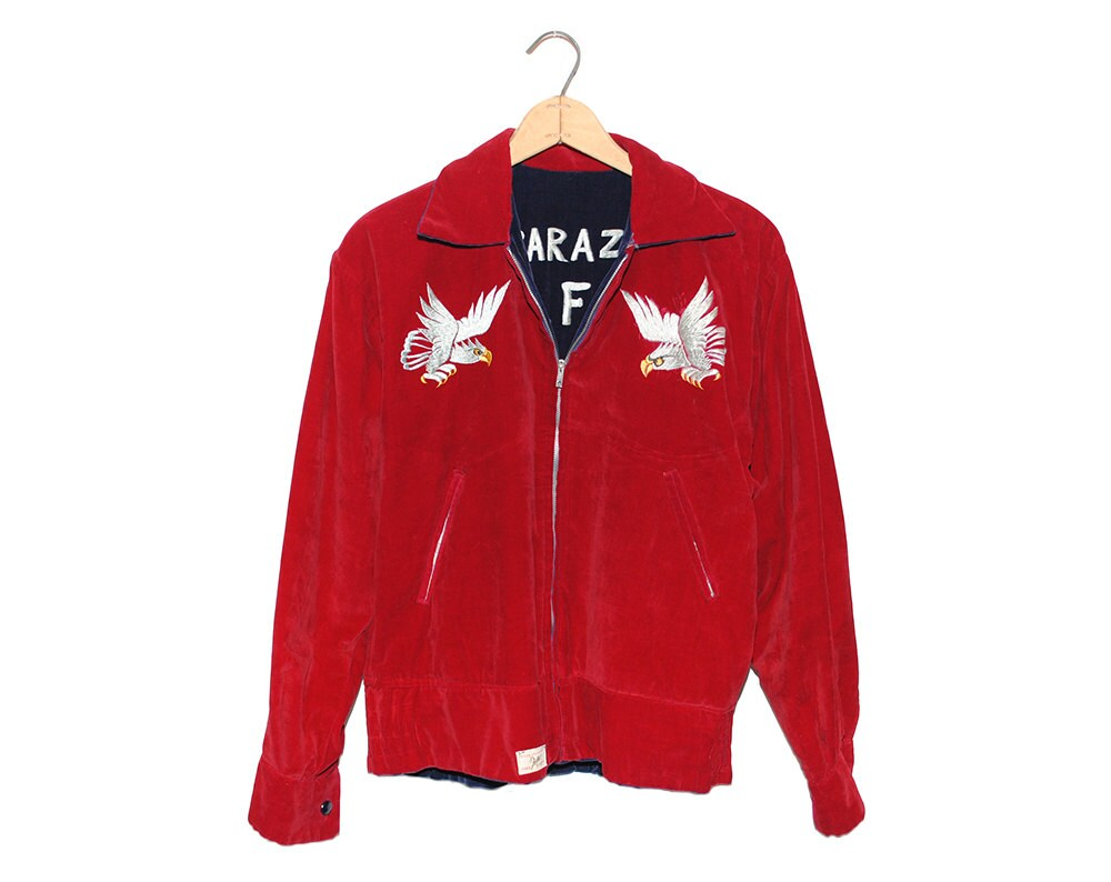 Vintage Japan Kisarazu Air Force Base 53 - 55 Red & Blue Velvet Bomber Jacket Made in Japan Oike Kiryu - Medium