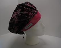 Pink Rose pattern on Black Background Bouffant Scrub Hat, surgical tech, OR nurse