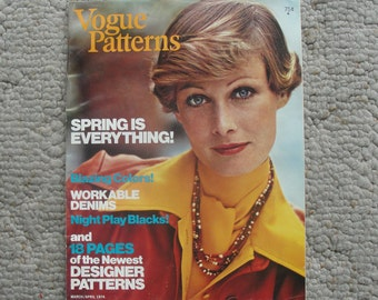 Vogue Patterns Magazine  March/April 1974  88 Pages of Fashion Photography, Illustrations, Ads, and Articles