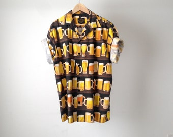 vintage BEER party animals 80s 90s button up seinfeld KRAMER yellow and black shirt