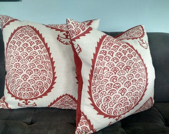 KATIE RIDDER Fabric LEAF Ginger Hand Printed Linen Pillow Cover