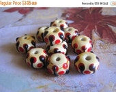 30% OFF SALE Yellow with Red Spot Lampwork Glass Roundelle 10mmx13mm Beads, 6 pcs
