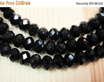 20% OFF ON SALE Black Chinese Crystal Faceted Rondelle 6mm Beads