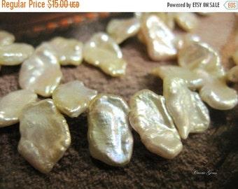 "20% OFF ON SALE Pinkish White Keshi Pearl Beads 15mmx10mm,7.5"" long, 32 pcs"