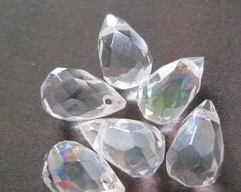 20% OFF ON SALE White Rock Crystal Peardrop Ab 9mmx6mm, 6pcs, Gemstones Beads