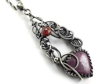 Ruby wire wrapped necklace, silver jewelry,  fine wirework jewelry
