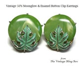 50s Green Moonglow & Enamel Button Earrings with Enameled Leaf Over-lay in Silver Clip-back Design - Vintage 50's Plastic Costume Jewelry